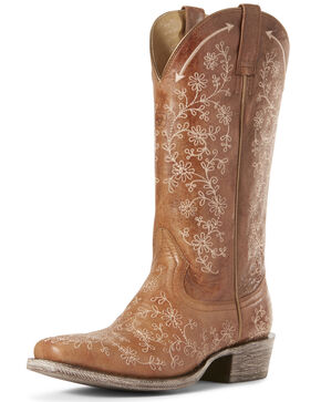 Ariat Women's Fleur Cashew Western Boots - Square Toe, Brown, hi-res