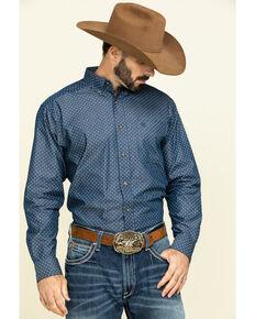 Ariat Men's Ingleton Diamond Geo Print Long Sleeve Western Shirt - Big , Indigo, hi-res