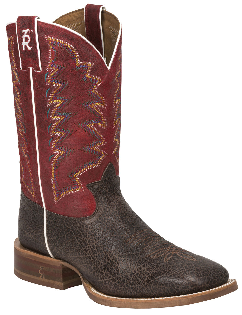 Tony Lama Cafe Bonham 3R Stockman Boots - Square Toe, Dark Brown, hi-res