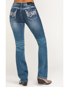 "Grace in LA Women's Medium Zig Zag 34"" Bootcut Jeans , Blue, hi-res"