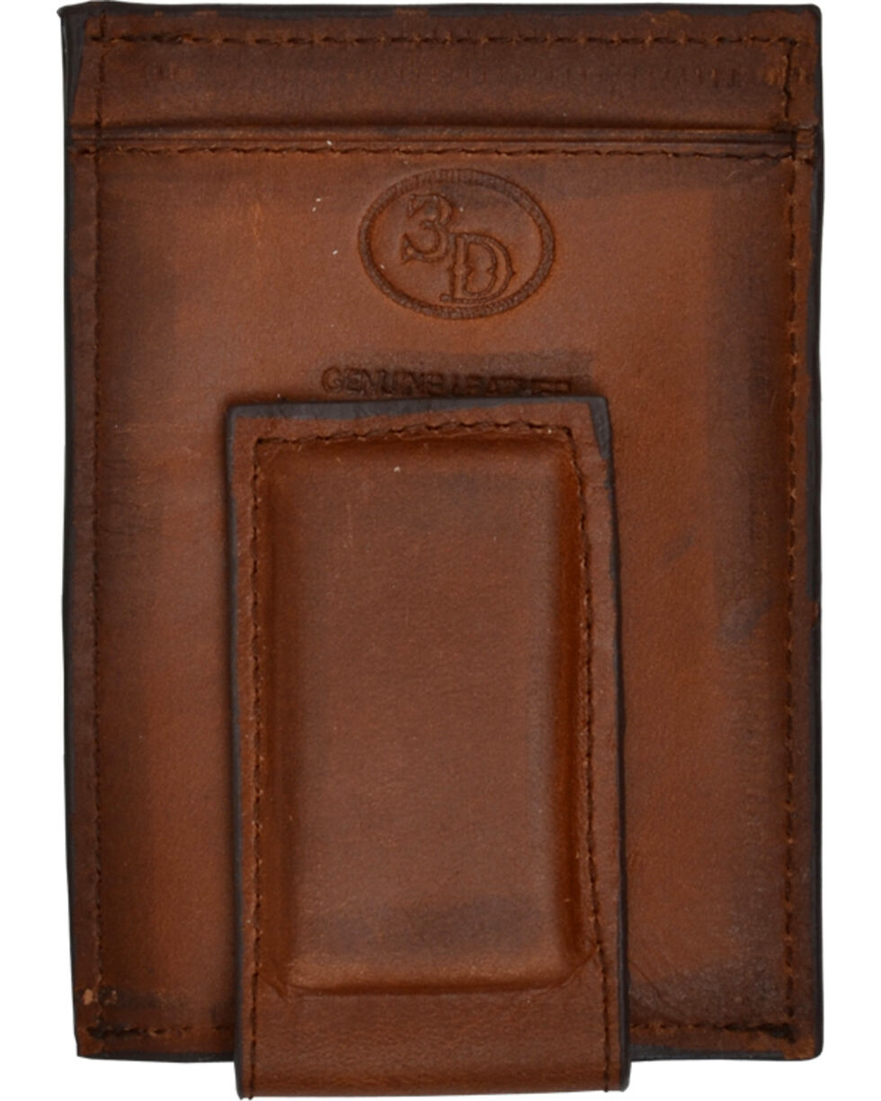 3D Basic Brown Money Clip Wallet, Brown, hi-res