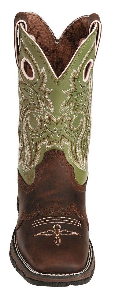 Durango Lady Rebel Green Saddle Cowgirl Boots - Square Toe, Bay Apache, hi-res