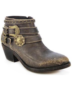 Circle G Distressed Strap Booties - Round Toe, Distressed, hi-res