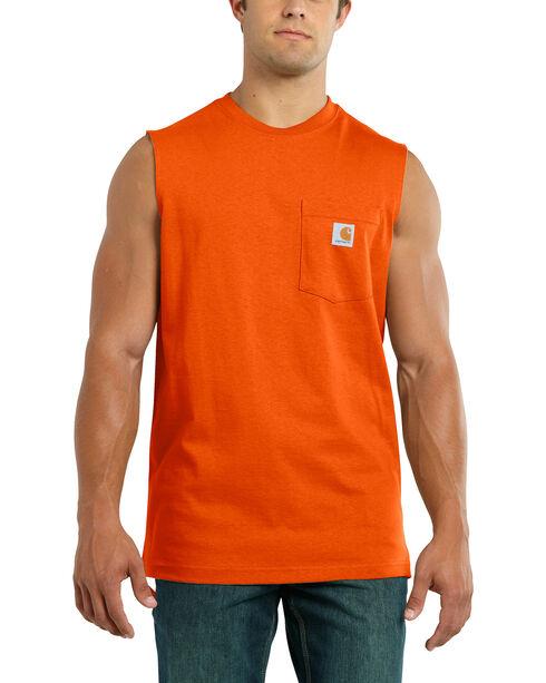 Carhartt Men's Workwear Pocket Sleeveless Shirt, Orange, hi-res