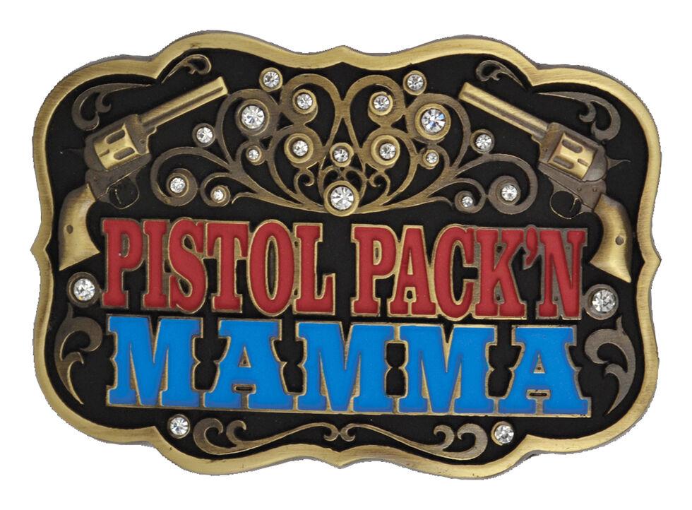 Montana Silversmiths Pistol Pack'n Mamma Belt Buckle, Silver, hi-res