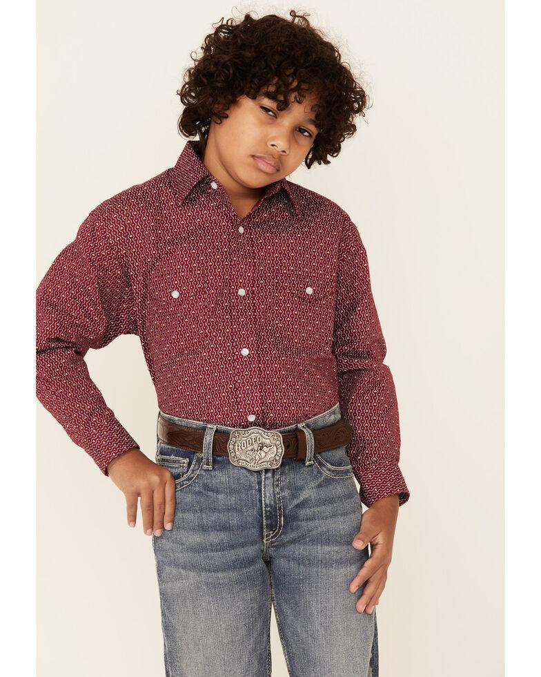 Rough Stock By Panhandle Boys' Wine Geo Print Long Sleeve Snap Western Shirt , Red, hi-res