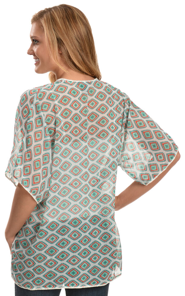 Rock 47 by Wrangler Women's Short Sleeve Printed Kimono, Multi, hi-res