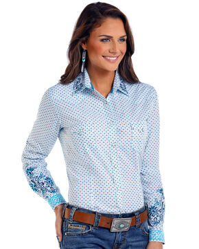 Rough Stock by Panhandle Women's Comal Vintage Print Long Sleeve Western Shirt, Multi, hi-res