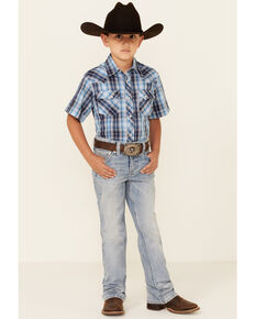 Rock & Roll Denim Boys' Light Wash Reflex Stretch Regular Bootcut Jeans , Indigo, hi-res