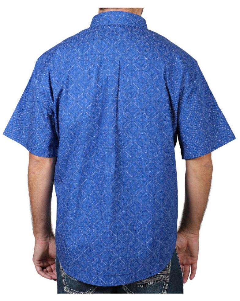 Cody James Men's Diamond Pattern Short Sleeve Button-Down Western Shirt, Royal, hi-res