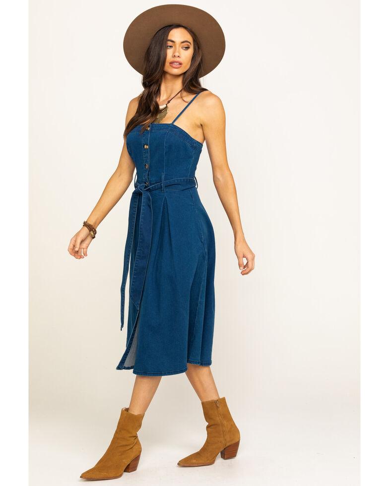 Flying Tomato Women's Denim Belted Sleeveless Dress, Blue, hi-res