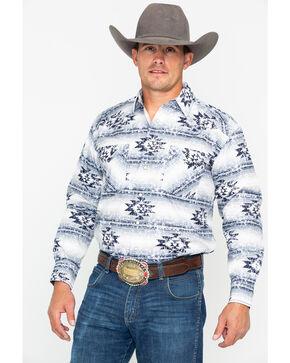 Panhandle Men's White Wasatch Aztec Long Sleeve Western Shirt, Light Grey, hi-res