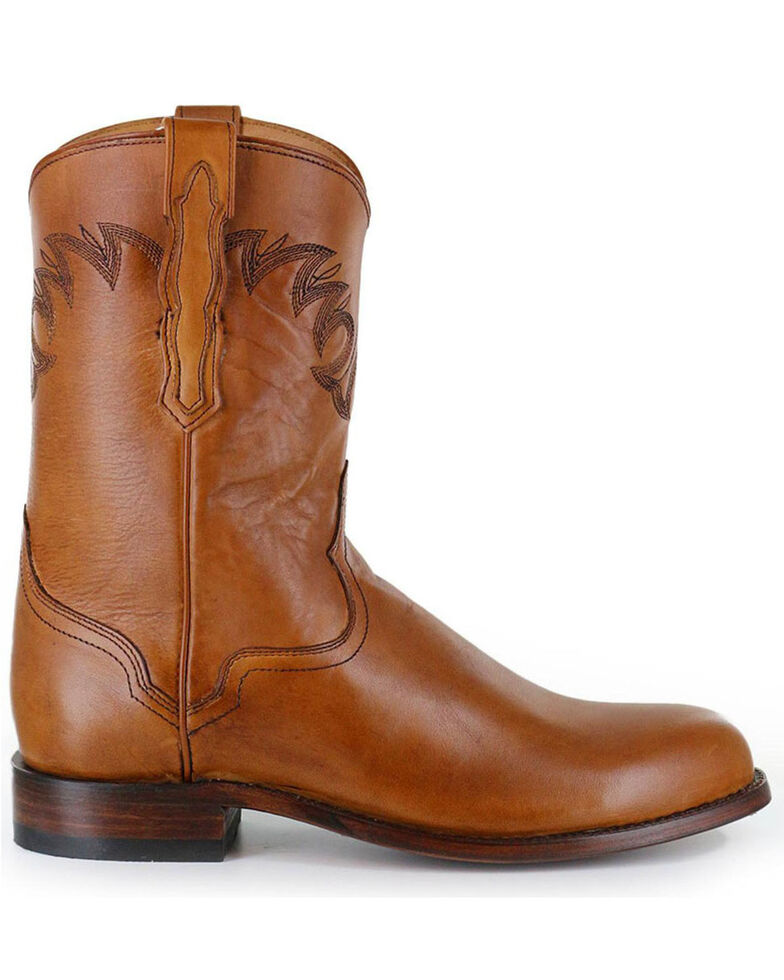 El Dorado Men's Handmade Tan Embroidered Western Boots - Round Toe , Tan, hi-res
