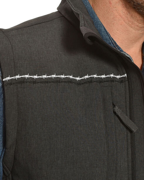 Cowboy Hardware Men's Charcoal Double Bard Wire Poly Shell Vest, Charcoal, hi-res