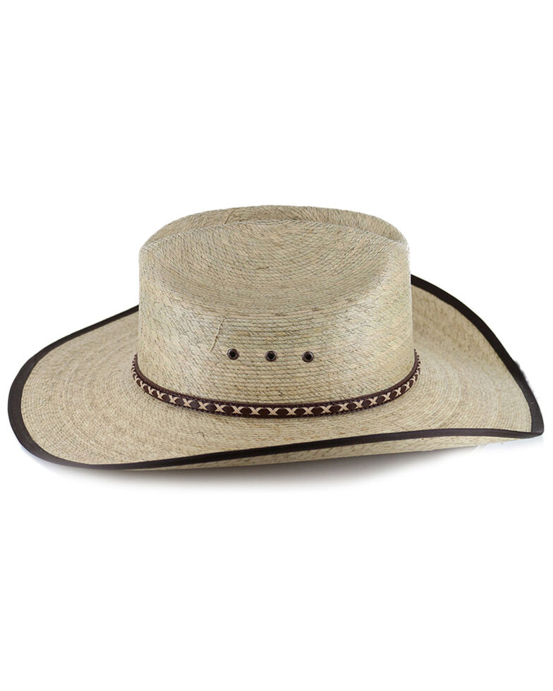Cody James Brown Trimmed Straw Cowboy Hat, Natural, hi-res