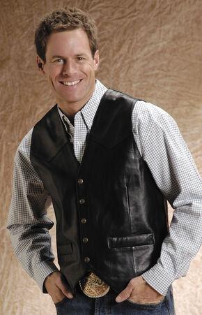 Roper Lamb Leather Black Vest - Big and Tall, Black, hi-res