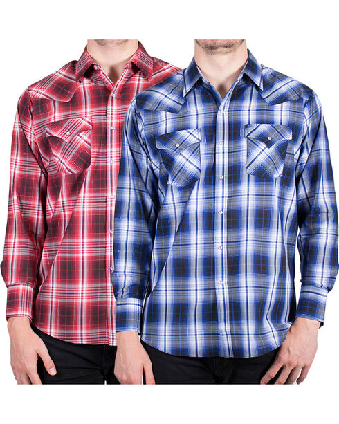 Ely Cattleman Men's Lurex Plaid Long Sleeve Western Shirt - Assorted, Multi, hi-res