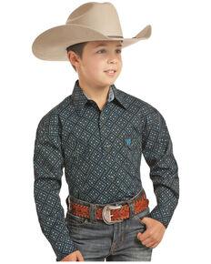 Panhandle Select Boys' Brushed Poplin Geo Print Long Sleeve Western Shirt , Black, hi-res