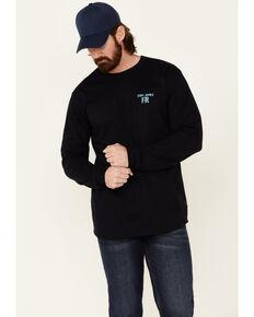 Cody James Men's FR Navy Back Graphic Long Sleeve Work T-Shirt , Navy, hi-res
