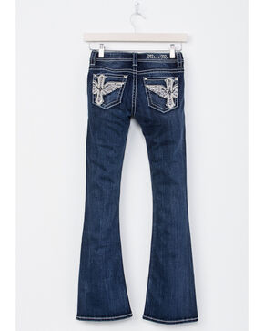 Miss Me Girls' Cross Wing Boot Cut Jeans, Blue, hi-res