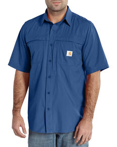 Carhartt Force Men's Mandan Short Sleeve Performance Work Shirt, Blue, hi-res