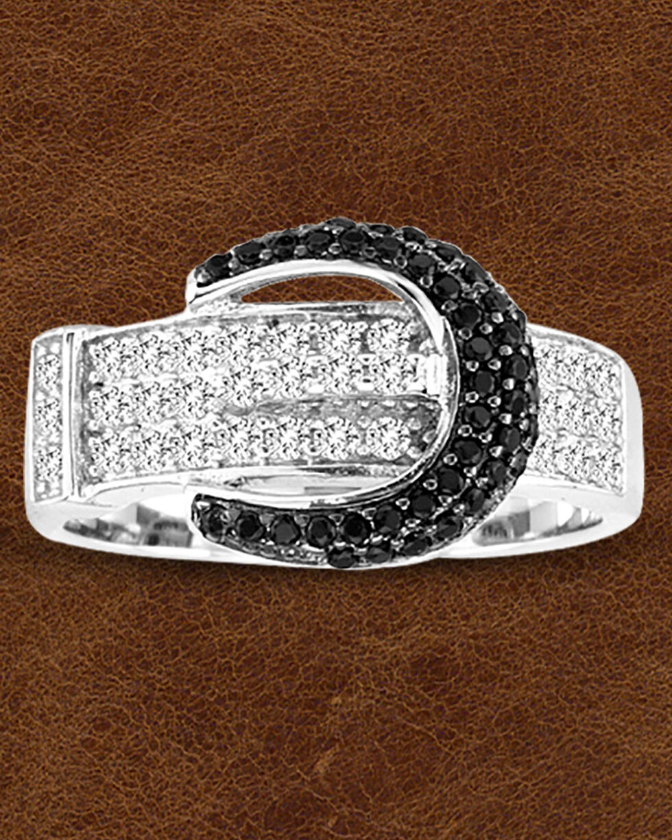 Kelly Herd Sterling Silver Pave' Black Buckle Ring , Silver, hi-res