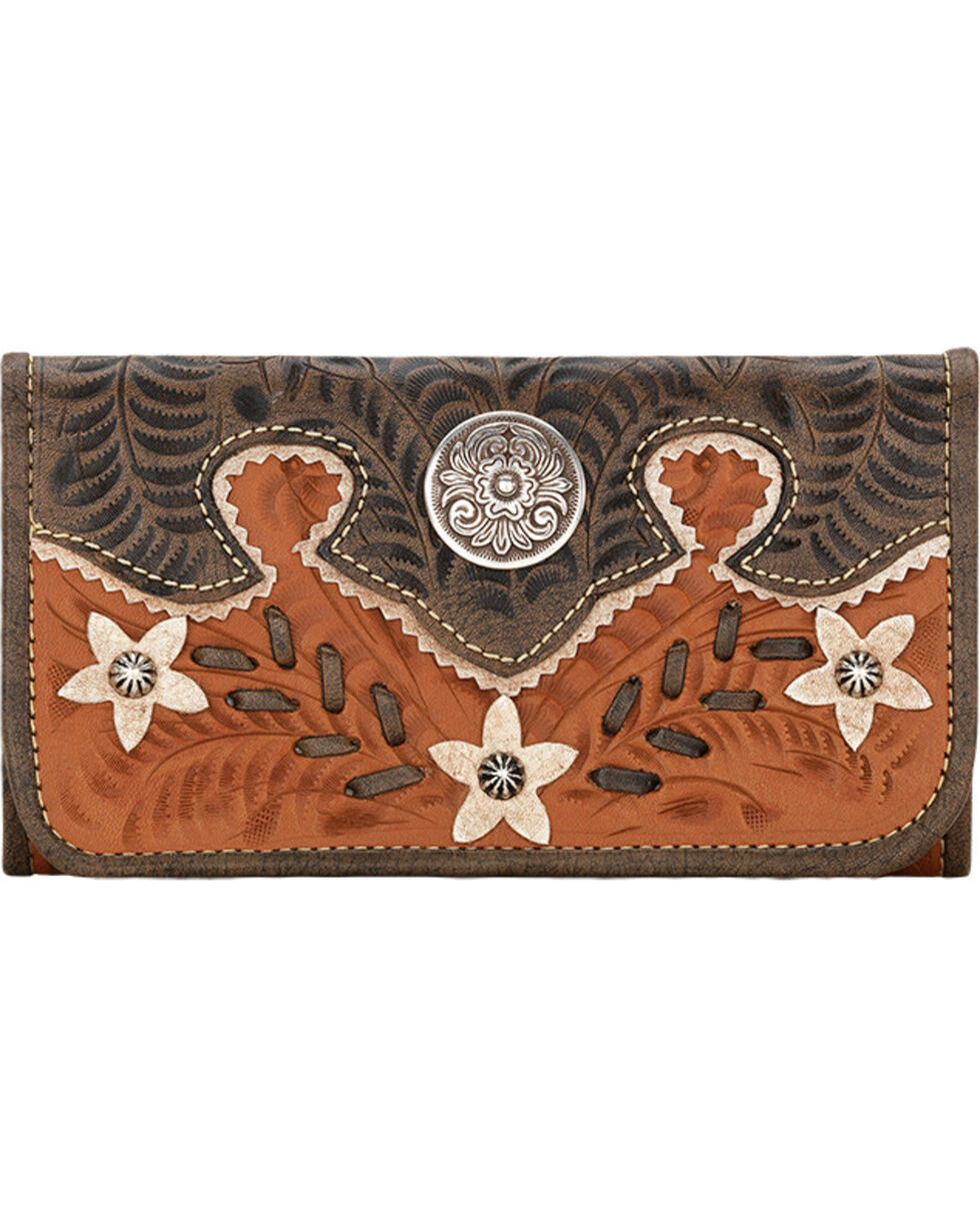 American West Golden Tan Desert Wildflower Ladies Wallet, Tan, hi-res