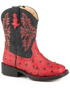 Roper Boys' Cowboy Cool Western Boots - Square Toe, Red, hi-res