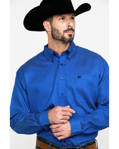 Cinch Men's Royal Blue Geo Print Long Sleeve Western Shirt , Royal Blue, hi-res