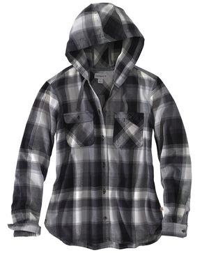 Carhartt Women's Beartooth Hooded Flannel Work Shirt, Dark Grey, hi-res