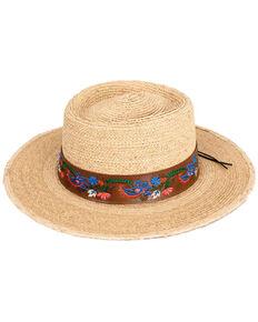Peter Grimm Natural Frida Floral Band Raffia Straw Resort Hat, Natural, hi-res