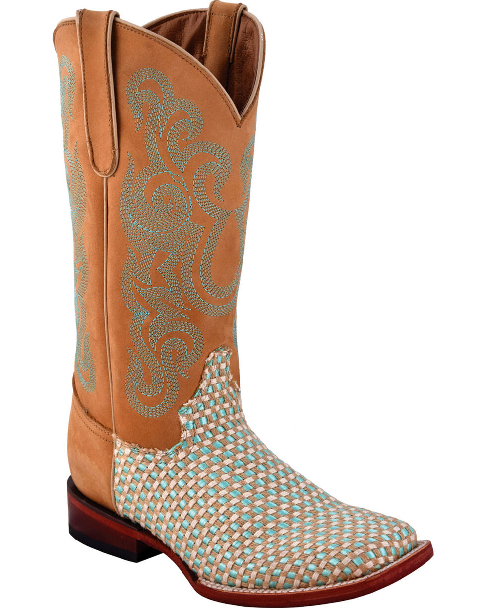 Ferrini Women's Basket Weave Aqua Cowgirl Boots - Square Toe, Aqua, hi-res