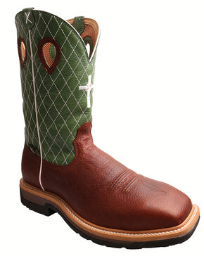 Twisted X Men's Lime Lite Western Work Boots - Steel Toe, Cognac, hi-res