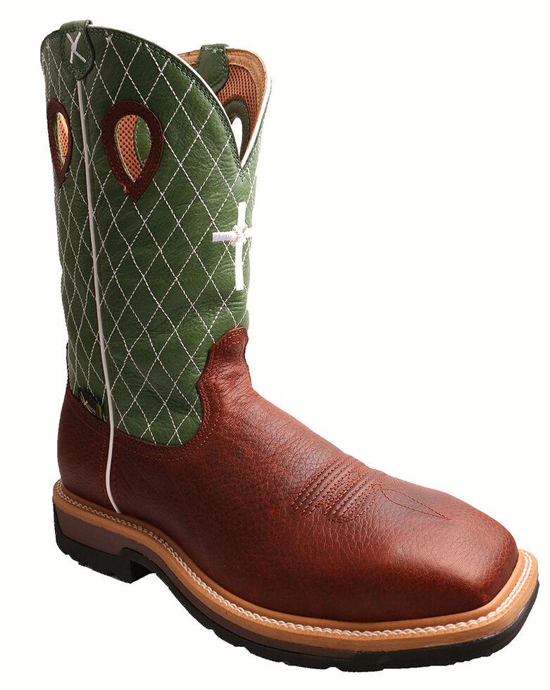 Twisted X Men's Lime Lite Western Work Boots - Steel Toe, Cognac, hi-res