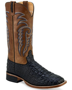 Old West Men's Faux Leather Print Western Boots - Wide Square Toe, Black, hi-res