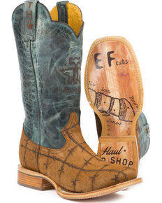 Tin Haul Men's Hairy Metal Cowboy Boots - Square Toe, Brown, hi-res