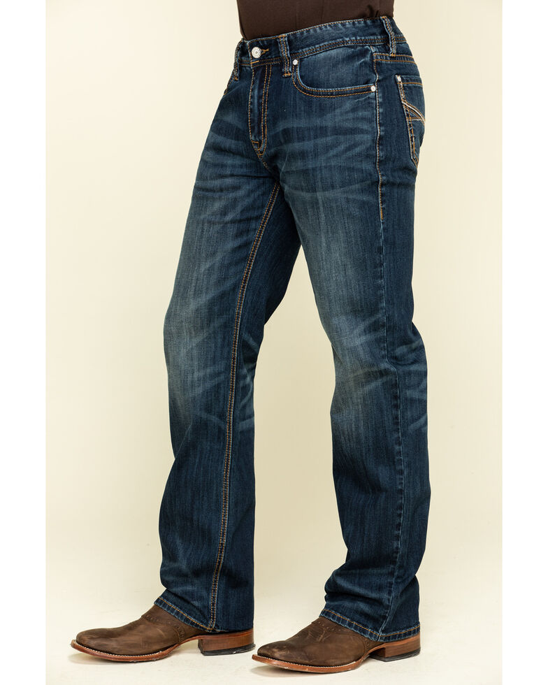 Rock & Roll Cowboy Men's Double Barrel Dark Stretch Relaxed Straight Jeans , Blue, hi-res