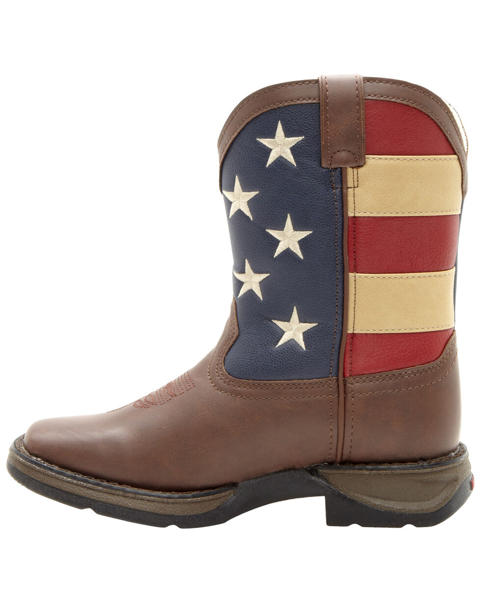 Durango Boys' American Flag Western Boots, Brown, hi-res