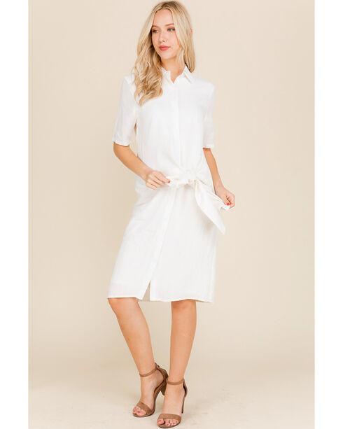 Polagram Women's White Tie Waist Shirt Dress, White, hi-res