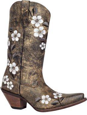 Durango Crush Floral Bouquet Embroidered Cowgirl Boots - Snip Toe, Tan, hi-res
