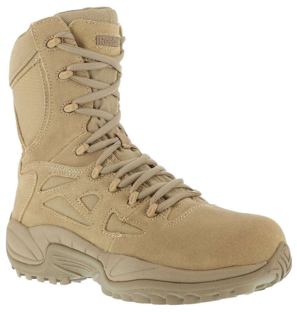 "Reebok Men's Stealth 8"" Lace-Up Side-Zip Desert Khaki Work Boots - Composite Toe, Desert Khaki, hi-res"