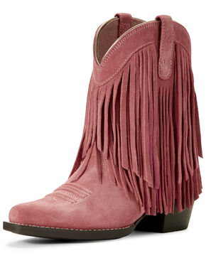 Ariat Youth Girls' Gold Rush Western Boots - Snip Toe, White, hi-res