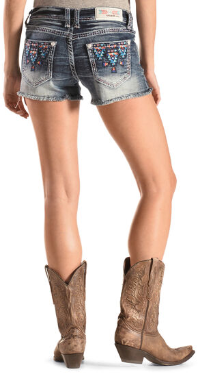Grace in LA Blue Aztec Embroidered Cutoff Shorts, Denim, hi-res
