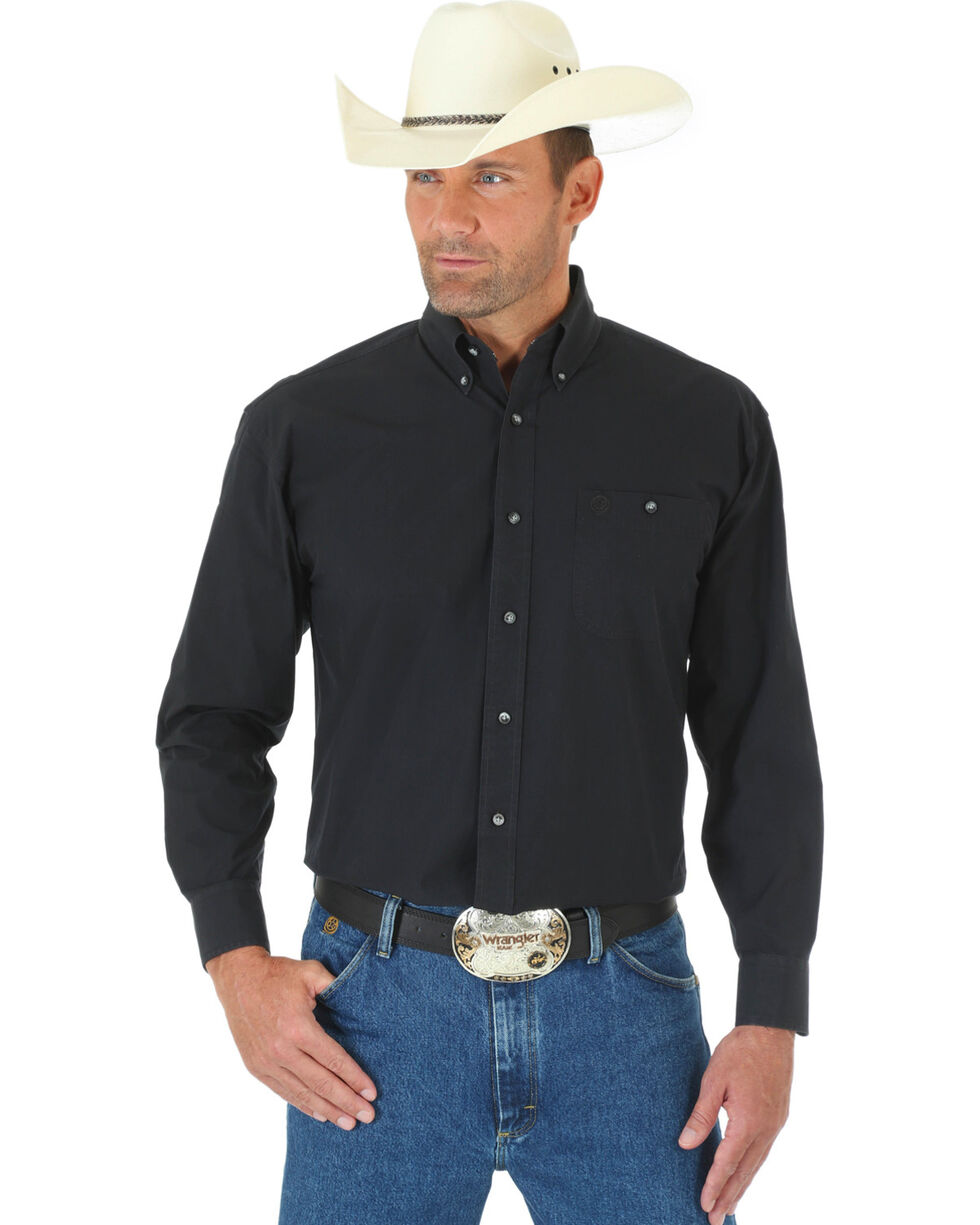 George Strait by Wrangler Men's Black Long Sleeve Western Shirt - Tall, Black, hi-res