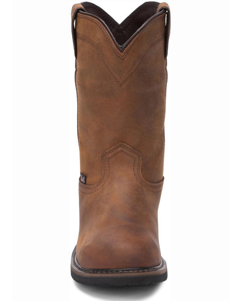 Justin Men's Wyoming Waterproof Western Work Boots - Steel Toe, Brown, hi-res