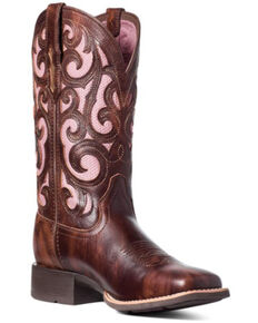 Ariat Women's Venttek Karma Western Boots - Wide Square Toe, Brown, hi-res
