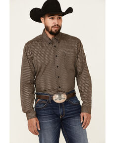 Cinch Men's Modern Fit Brown Geo Print Long Sleeve Button-Down Western Shirt , Brown, hi-res