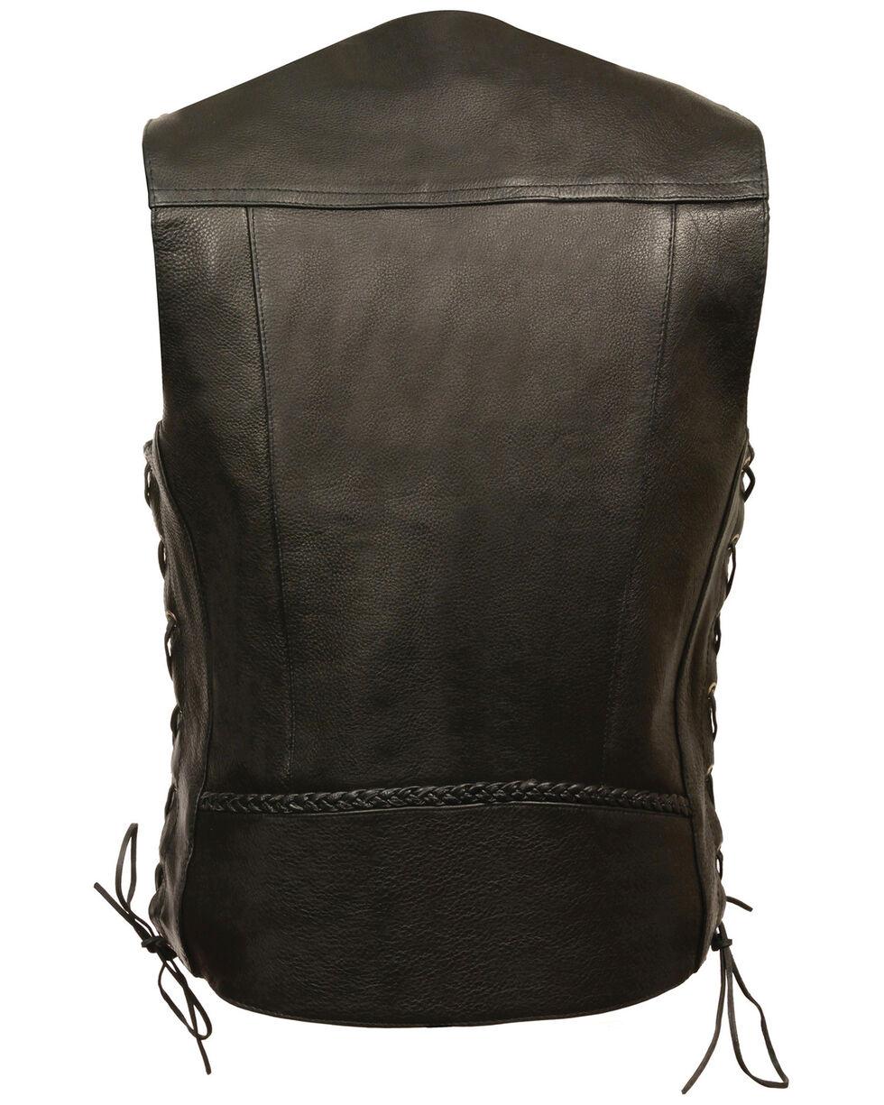 Milwaukee Leather Men's Buffalo Snap Braided Side Lace Vest - XBig, Black, hi-res