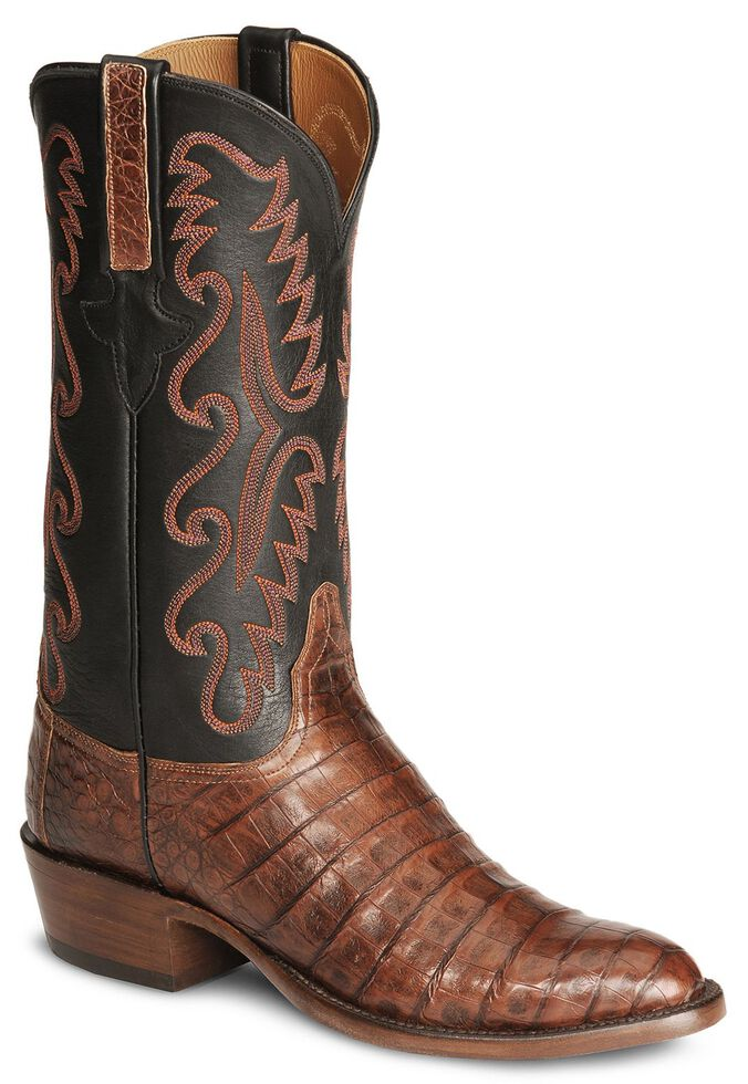 Lucchese Handmade Classics Caiman Ultra Belly Cowboy Boots - Medium Toe, Rust, hi-res