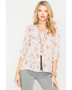 Sage the Label Women's Blush Floral Print Top , Blush, hi-res